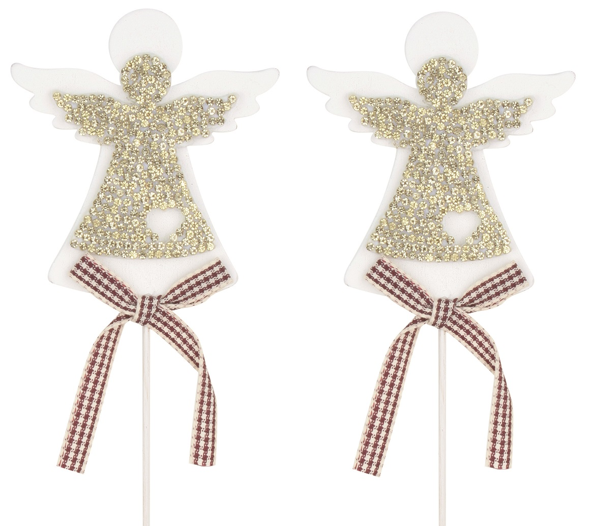 Anděl dřevěný bílý se zlatým 7 cm + špejle, 2 ks zápich