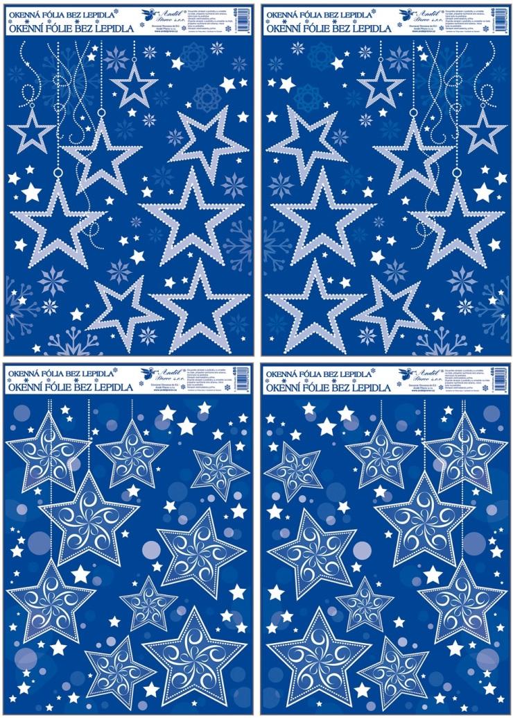 Fólie na okna rohová s glitrem a sněhovým efektem hvězdy 38x30 cm (486)