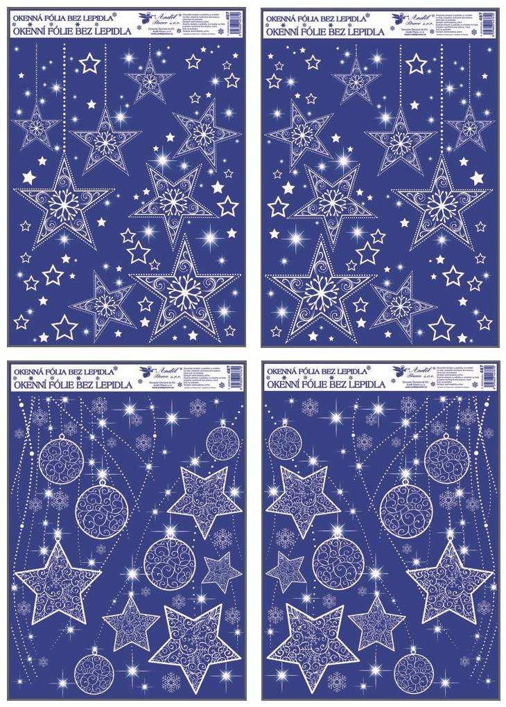 Fólie na okna rohová s glitrem hvězdy 38x30 cm (487)