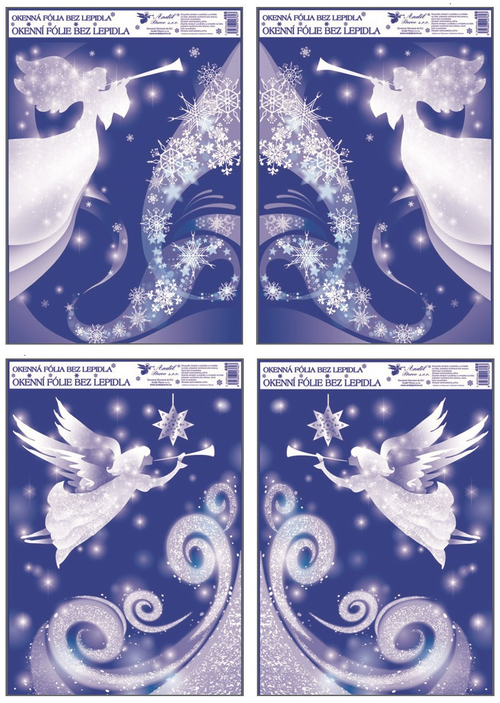 Fólie na okna rohová s glitrem anděl 38x30 cm (488)