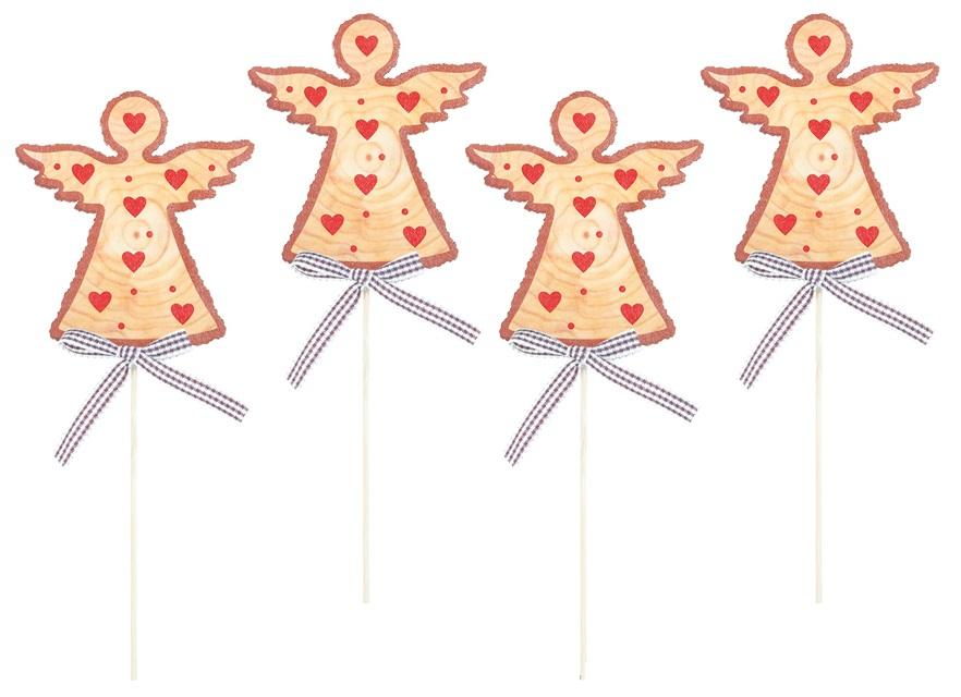 Anděl dřevěný 8 cm + špejle, 4 ks