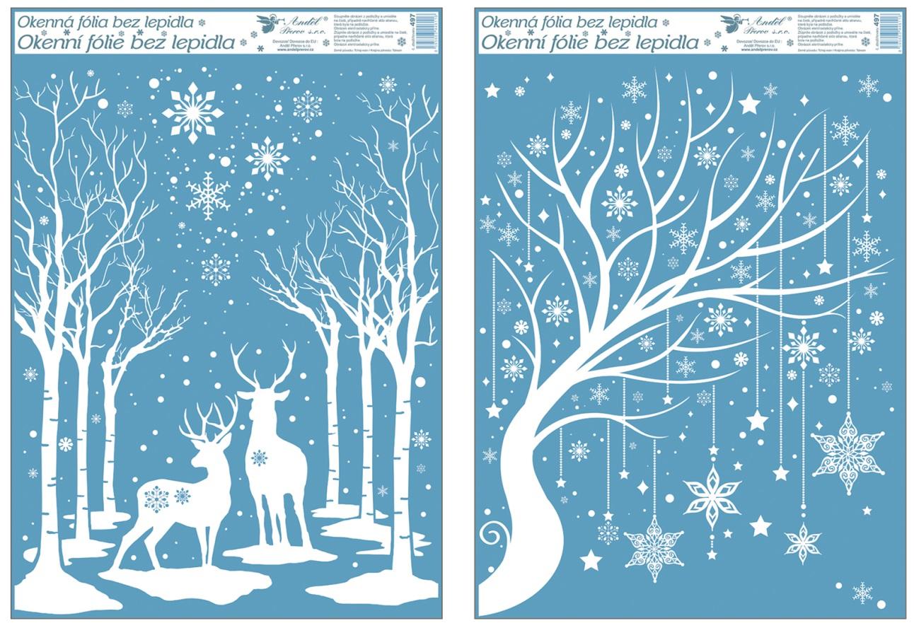 Fólie na okna s glitrem 50x35 cm, zimní stromy (497)