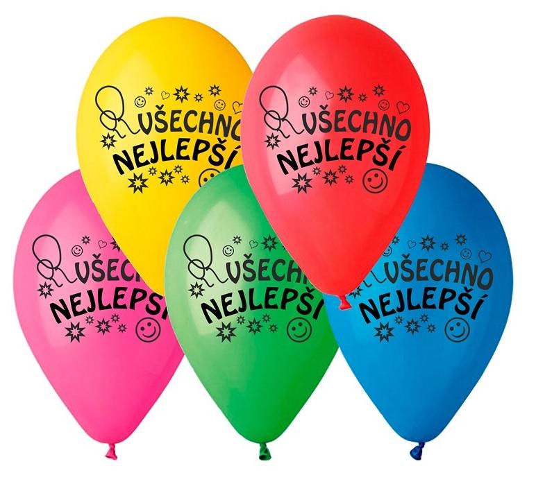 """Balónky """"Všechno nejlepší"""", 26 cm, 10 ks v balení, mix barev (50307)"""