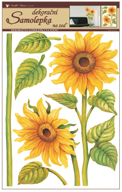 Samolepky na stěnu slunečnice 50x35 cm (541)