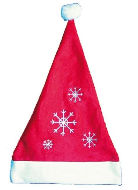 Mikulášská čepice červená s vločkami 40x30cm