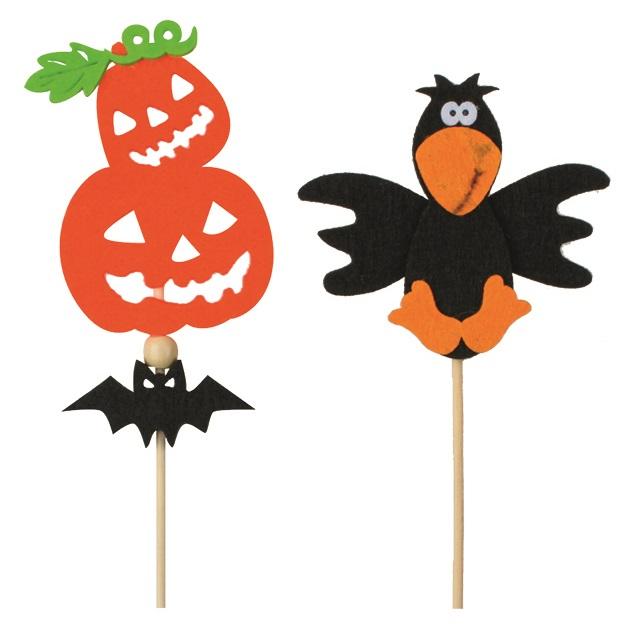 Halloweenská filcová dekorace 9 cm+špejle (5881)