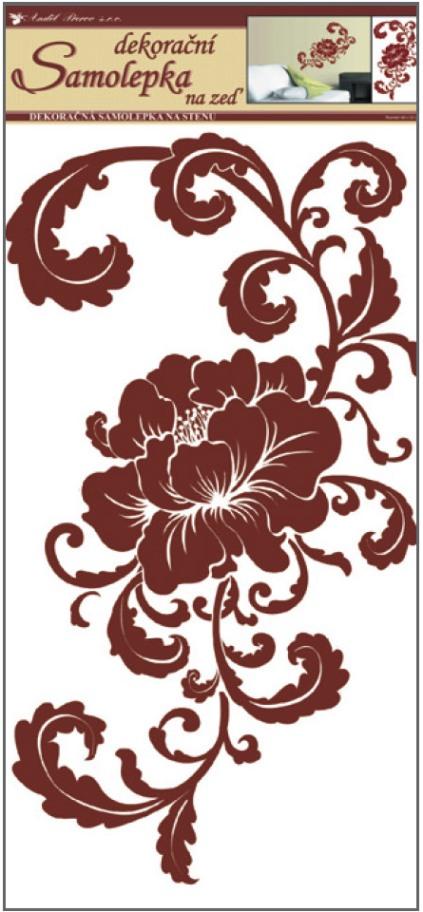 Samolepky na stěnu květ hnědý s ornamenty 60x32 cm