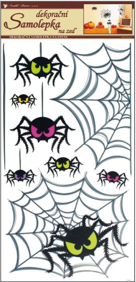 Samolepky na stěnu pavouci 60x32cm (599)