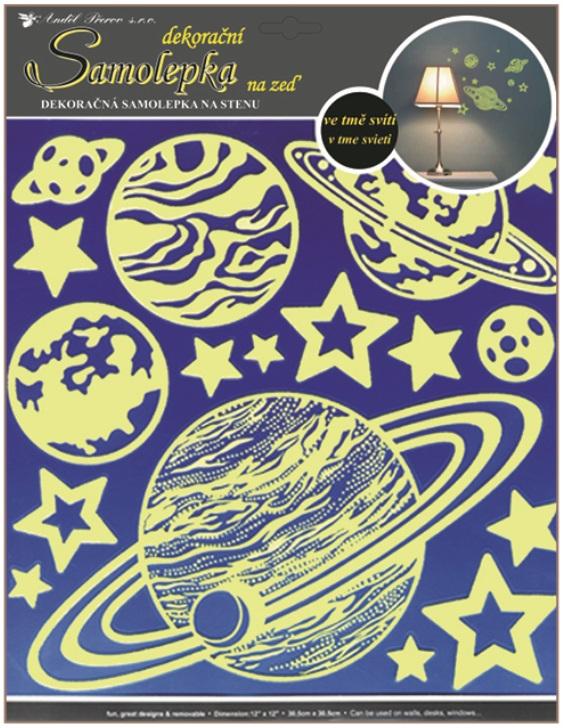 Samolepky na stěnu planety svítící ve tmě 32x31cm (603)