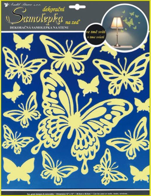 Samolepky na stěnu motýli svítící ve tmě 32x31cm