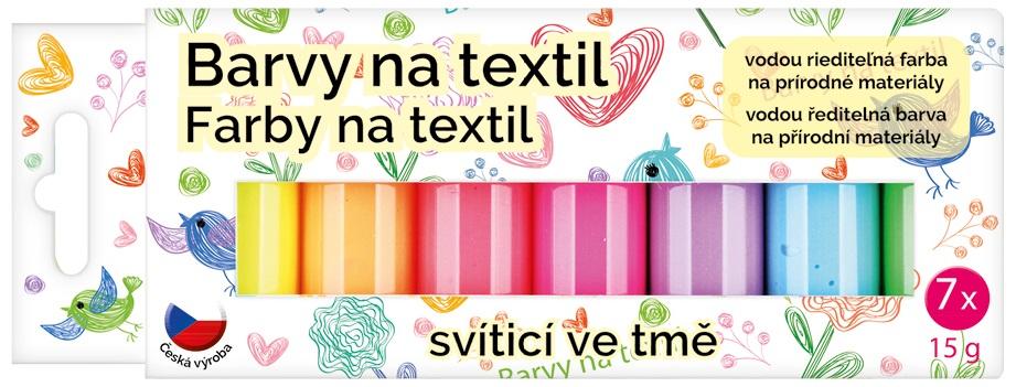Barvy na textil světlý, sada svítící ve tmě 7 x 15 g + šablony (6106)