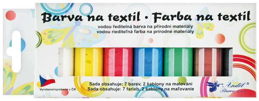 Barvy na textil světlý, sada perleť 7x15 g + šablony