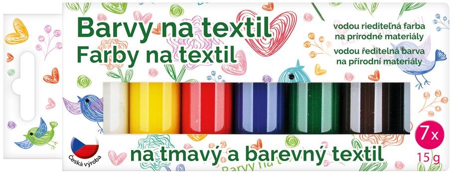 Barvy na textil tmavý a barevný, sada 7x20 g + šablony (6108)