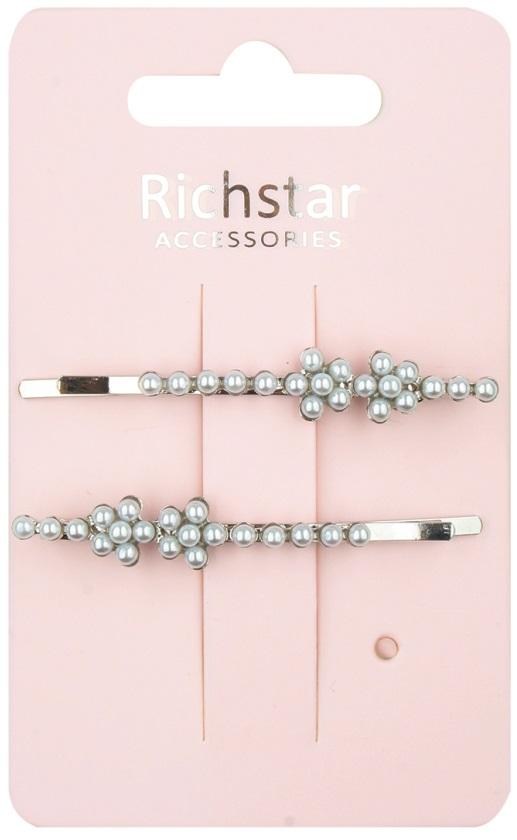 Sponka stříbrná-pérko s perličkami 6 cm 2 ks