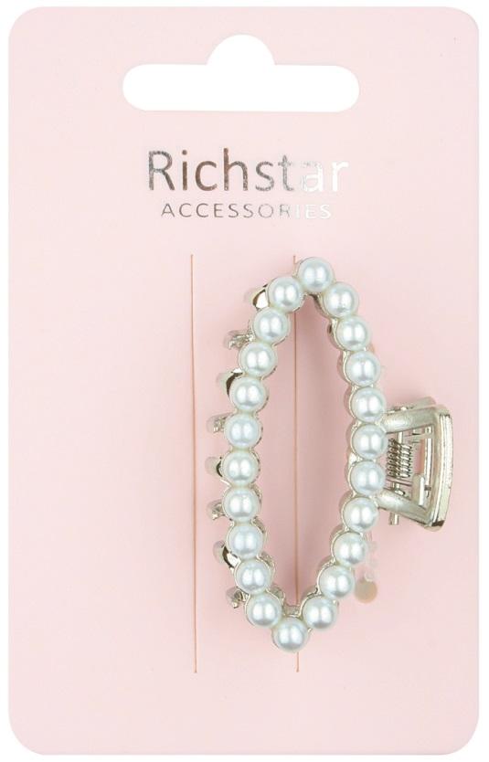 Skřipec stříbrný s bílými perličkami 5,5 cm (6216)
