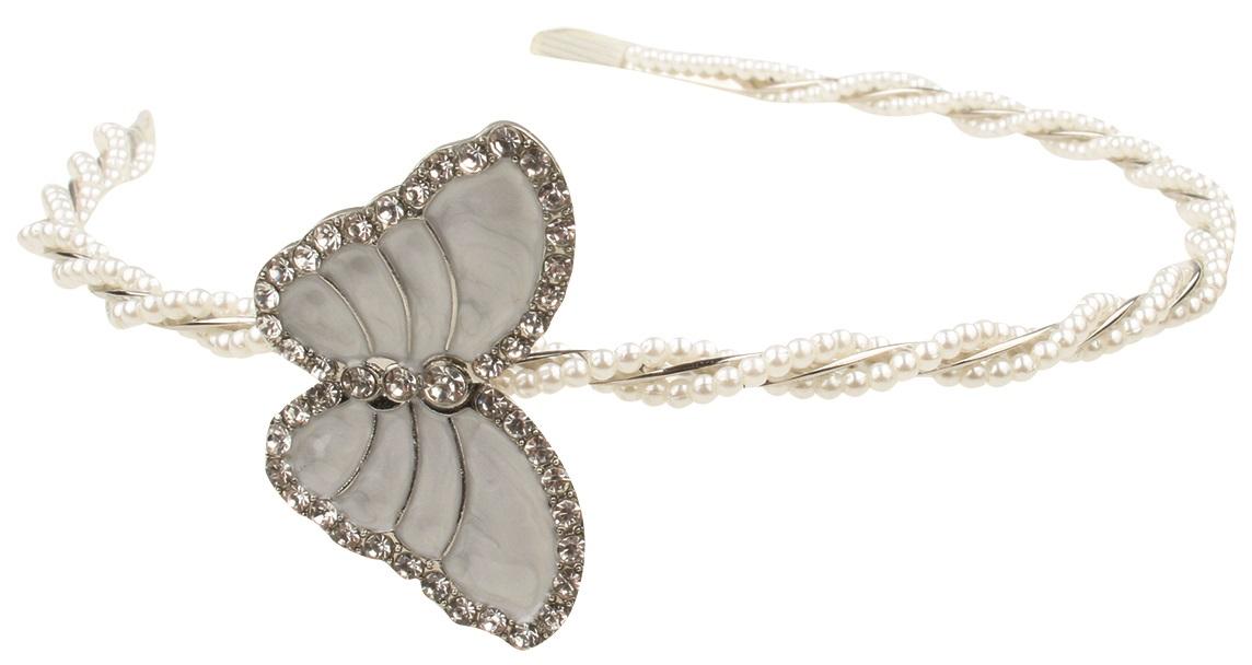 Čelenka s motýlem a perličkami (6219)