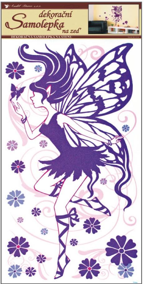 Samolepky na stěnu víla fialová 60x32cm (642)