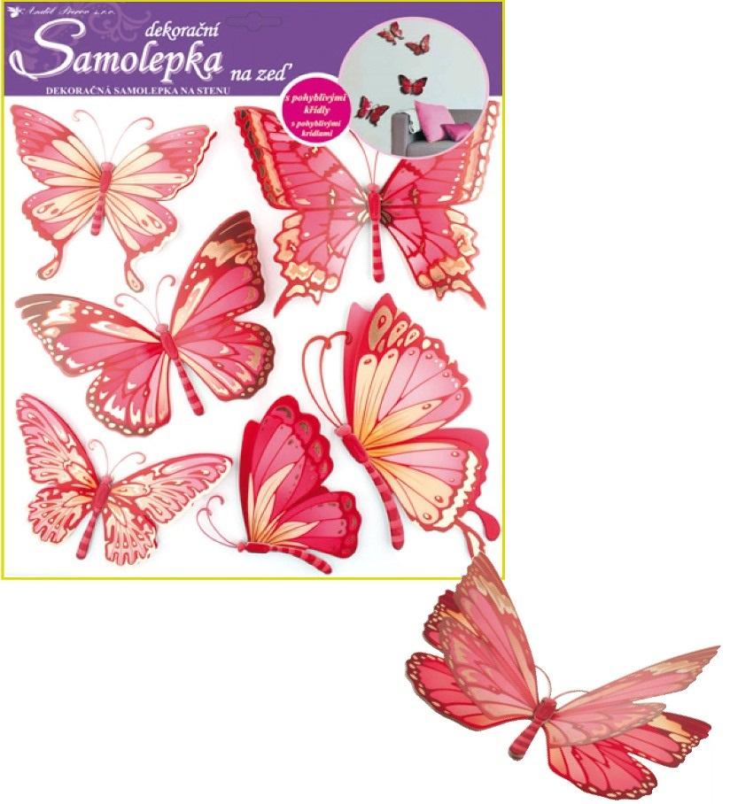 Samolepky na stěnu motýli růžoví s pohyblivými křídly 30,5x30,5cm