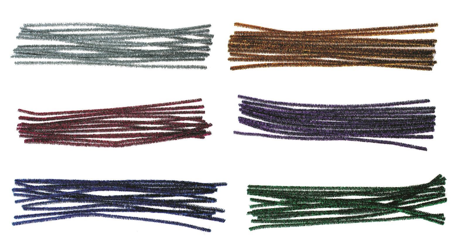 Žinylka lesklá chlupaté modelovací drátky 12ks v sáčku 29cm