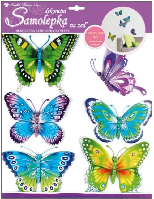 Samolepky na stěnu motýli modrozelení s pohyblivými křídly 30,5x30,5cm (678)