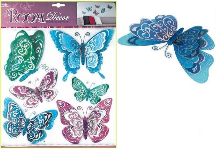 Samolepky na stěnu motýli modrofialoví s hologramem 30,5x30,5 cm (695)