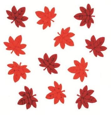 Javorové listy z filcu samolepicí 12 ks v sáčku, 3 cm