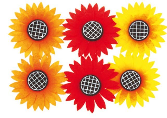 Slunečnice z filcu na klipu 6ks v sáčku, 5cm