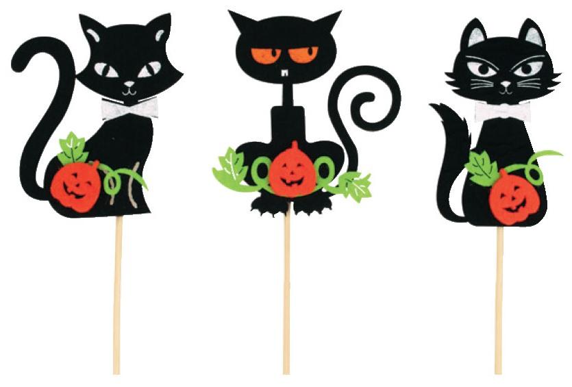 Zápich kočky černé z filcu 8 cm + špejle (7086)