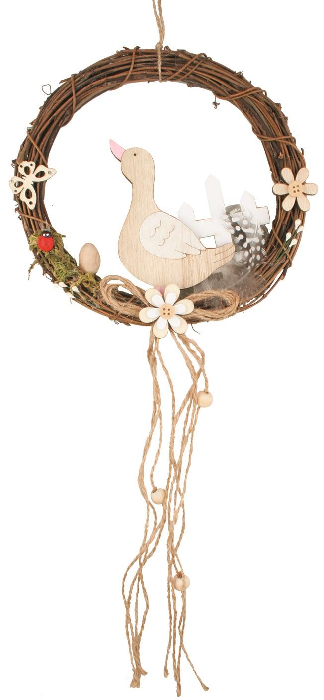 Věneček proutěný s husou 19 cm