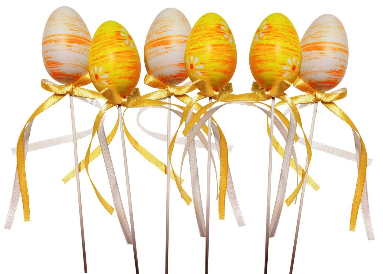 Vajíčko žluté plastové zápich 6 cm + špejle