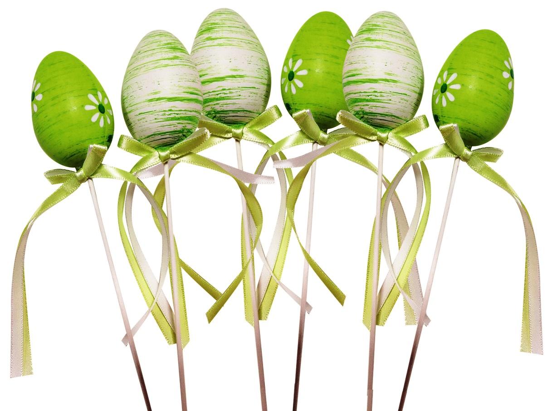 Vajíčko zelené plastové zápich 6 cm + špejle