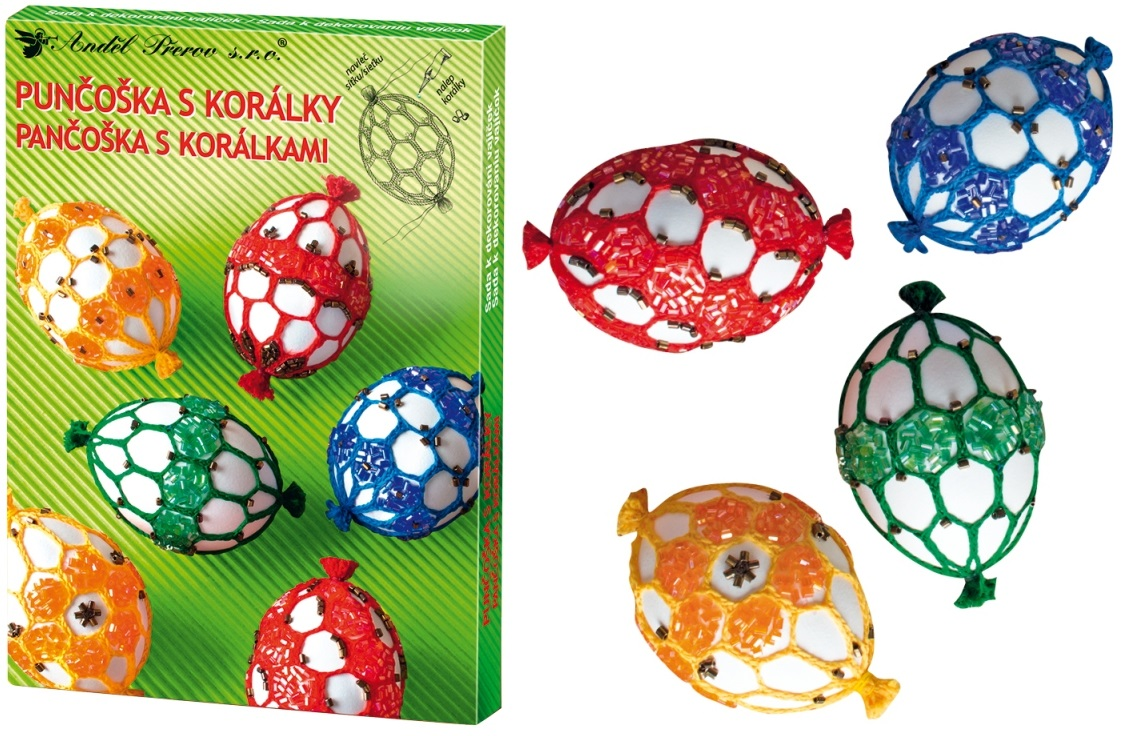 Sada k dekorování vajíček - punčoška s korálky