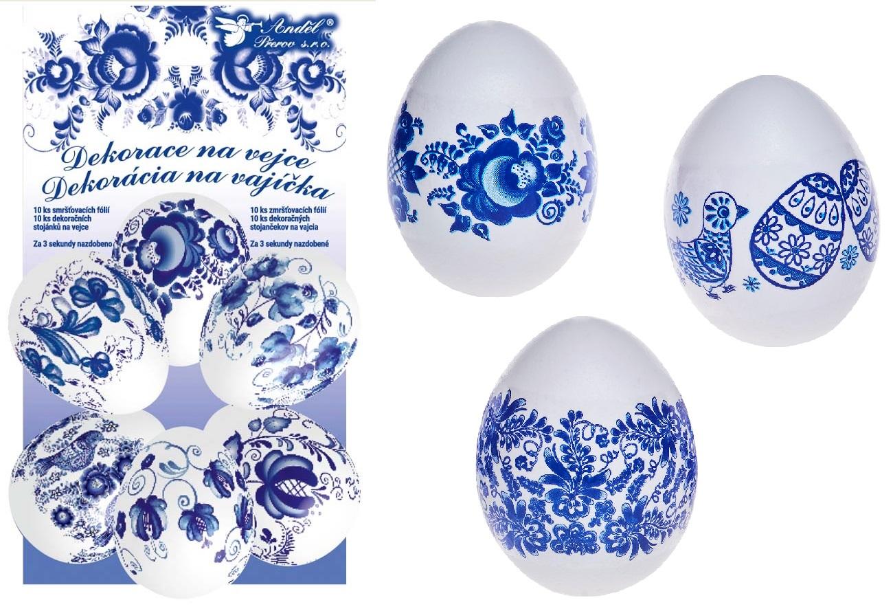 Smršťovací dekorace na vejce modré10ks+10stojánků