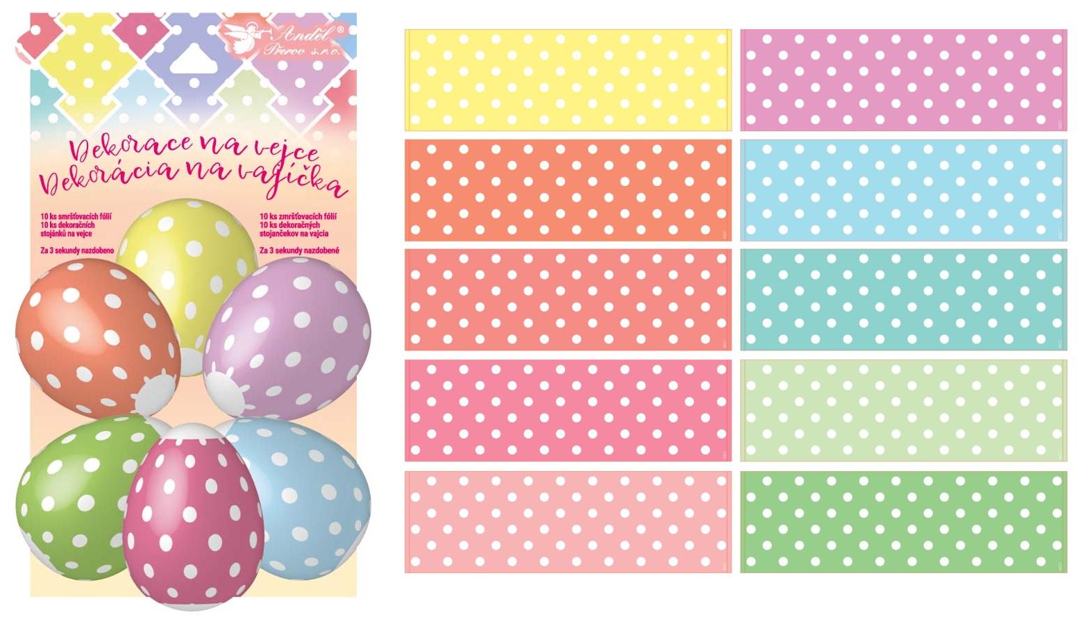 Smršťovací dekorace na vejce s puntíky 10ks+10stojánků