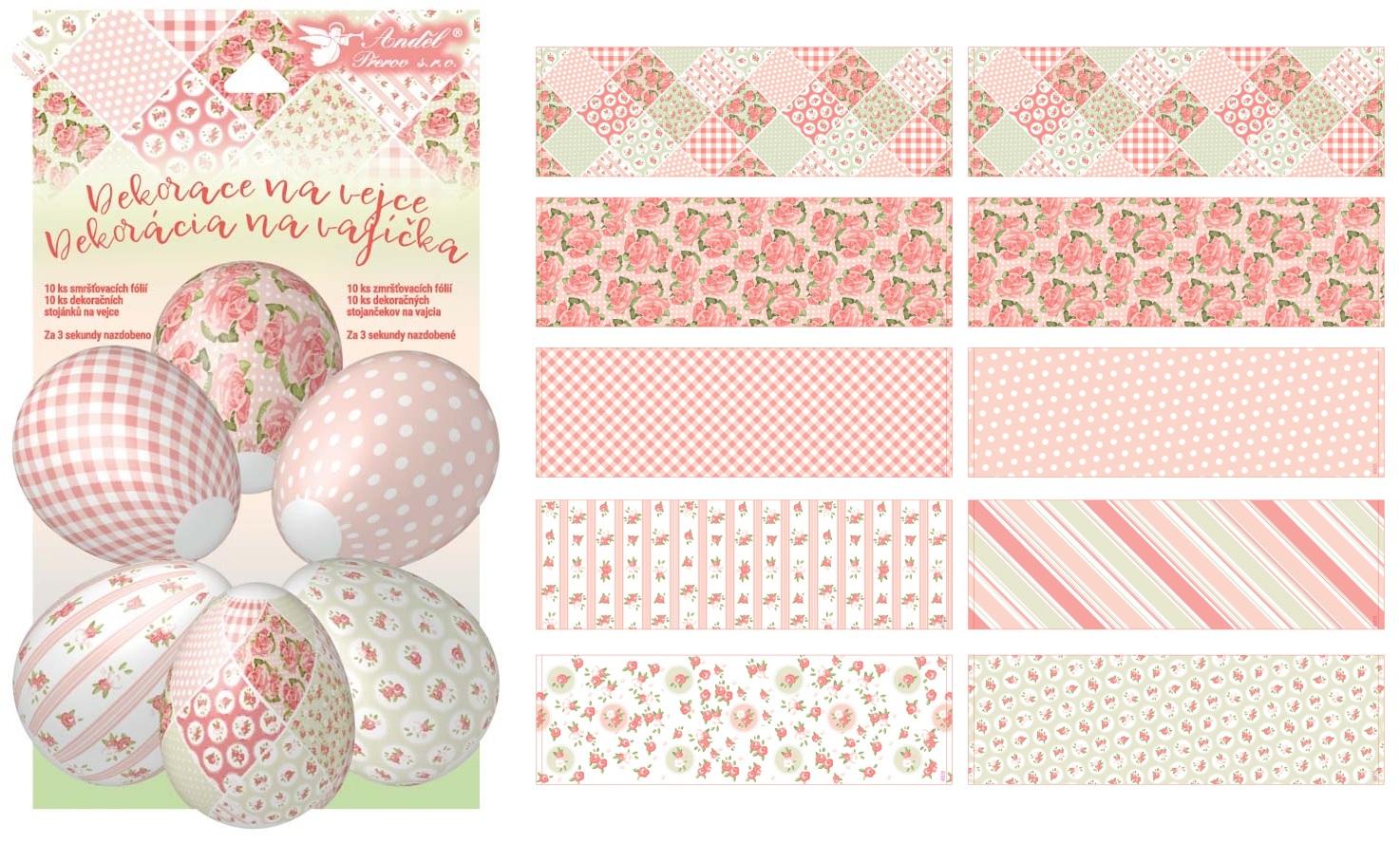 Smršťovací dekorace na vejce dekupáž 10 ks