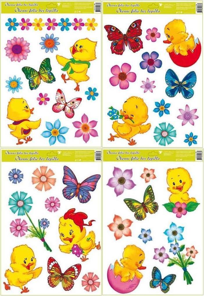 Fólie na okna kuřátka, květiny a motýlci 38x30cm (790)