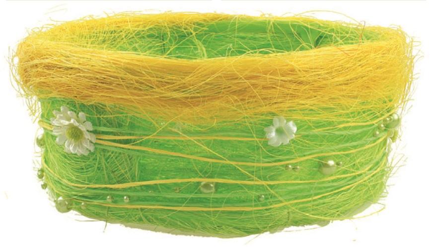 Jarní košíček ze sisalu s kopretinkami a perličkami 18cm