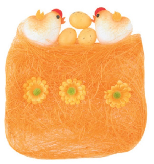 Sisal s dekoracemi oranžový 13 x 12 cm