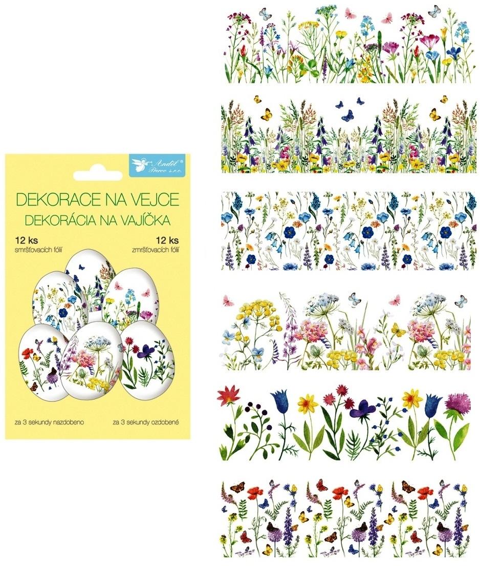 Smršťovací dekorace na vejce jemné květiny, 12 ks