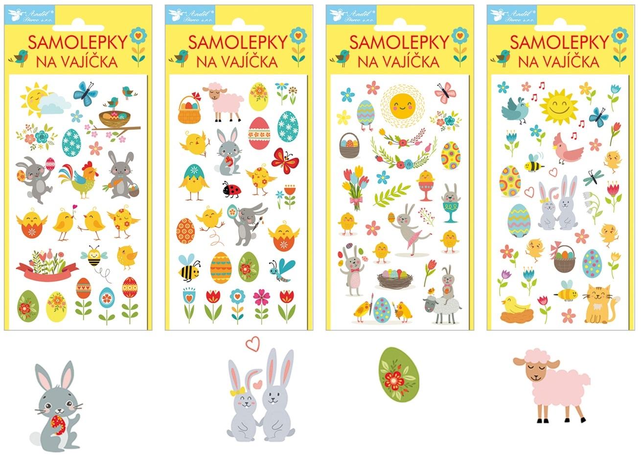 Samolepky velikonoční gelové Veselé Velikonoce 19 x 9cm