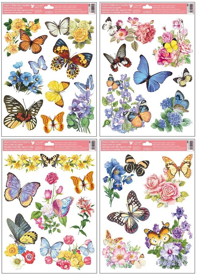 Fólie na okna motýli a květy 38x30cm (866)
