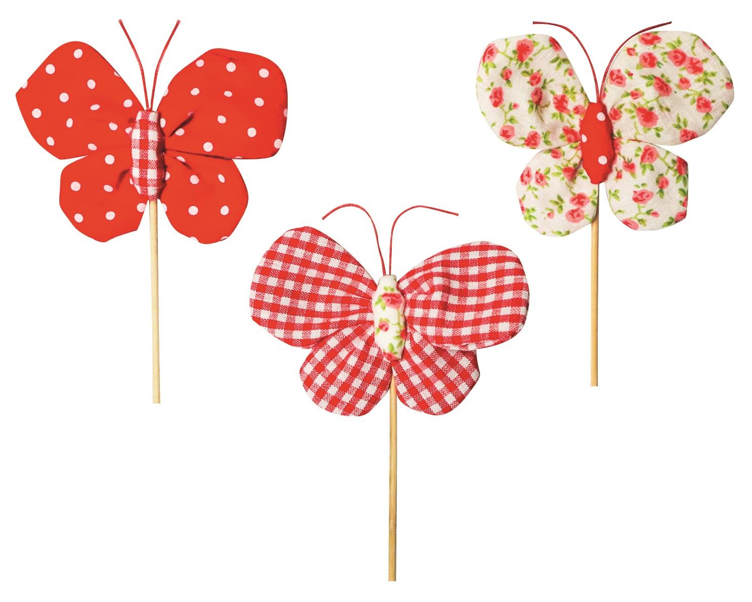 Motýl látkový zápich 8 cm + špejle