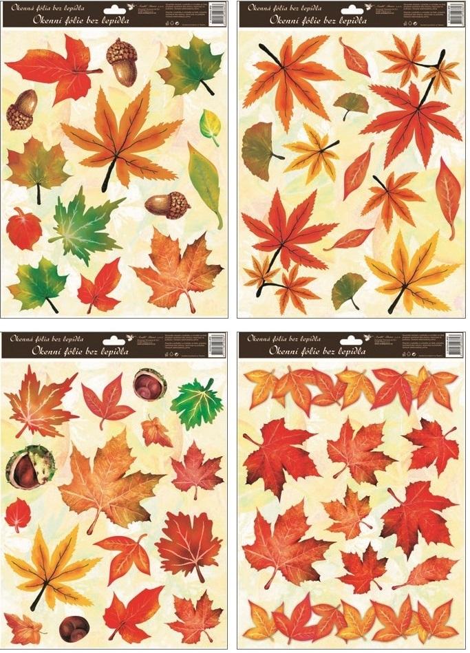 Fólie okenní podzimní  listí 30x42cm (872)