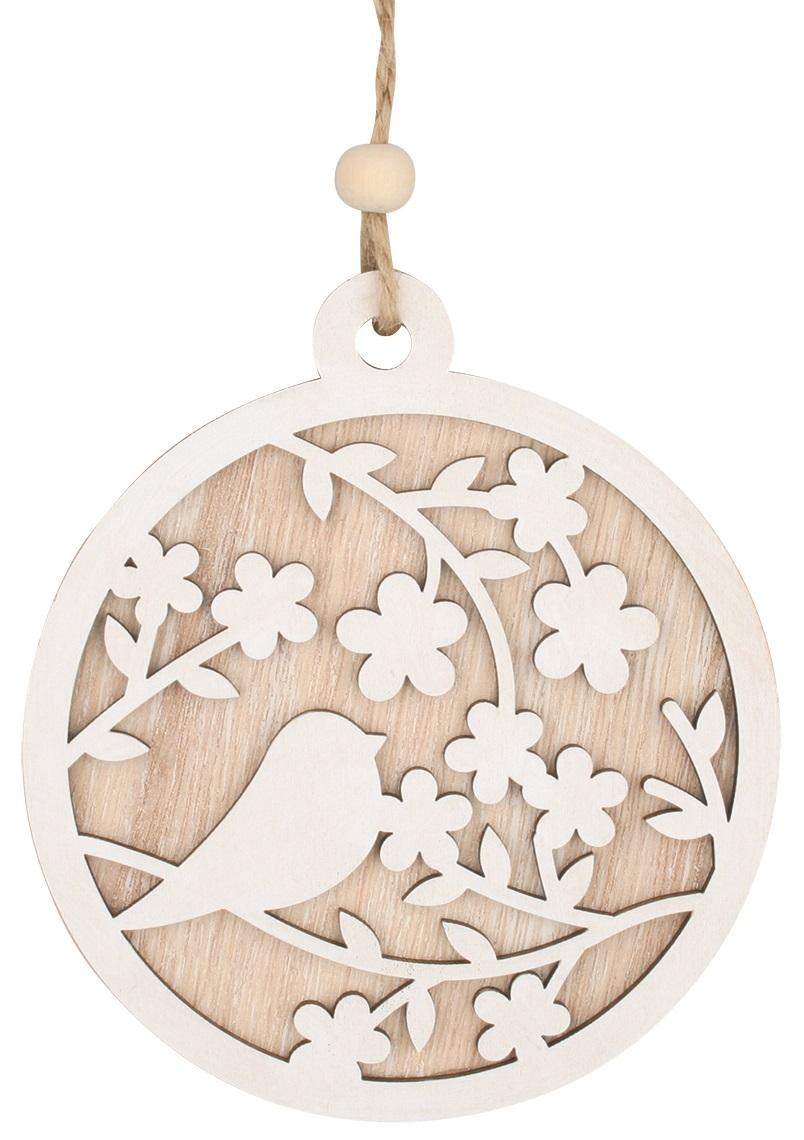 Dekorace s ptáčkem dřevěná k zavěšení 12 cm