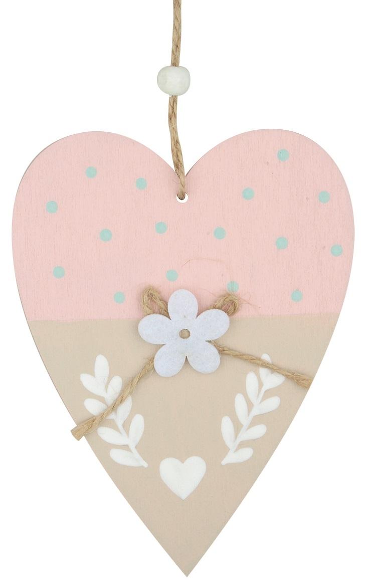 Srdíčko dřevěné růžové k zavěšení 14 cm