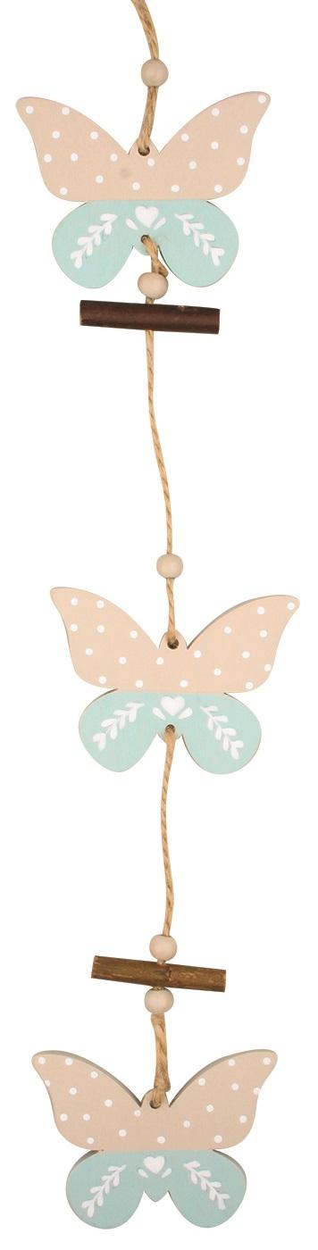 Motýlek dřevěný k zavěšení 33 cm