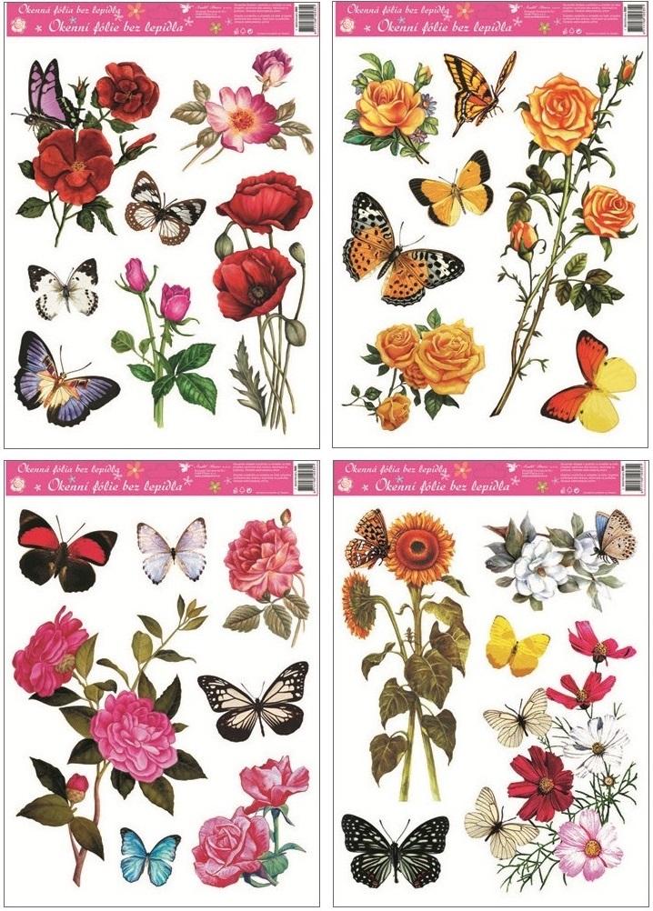 Fólie na okna kytice květů a motýli 38x30cm