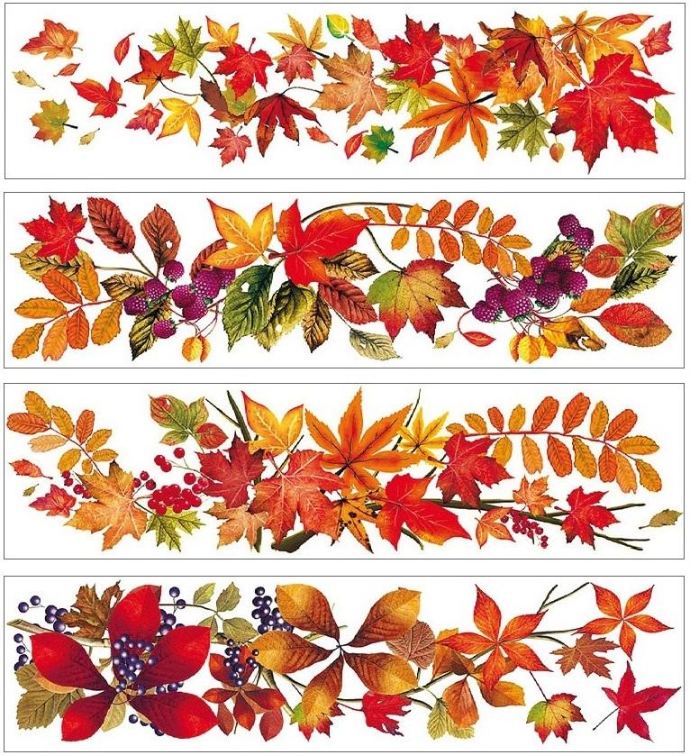 Fólie okenní pruh s podzimním listím 59x15cm (881)