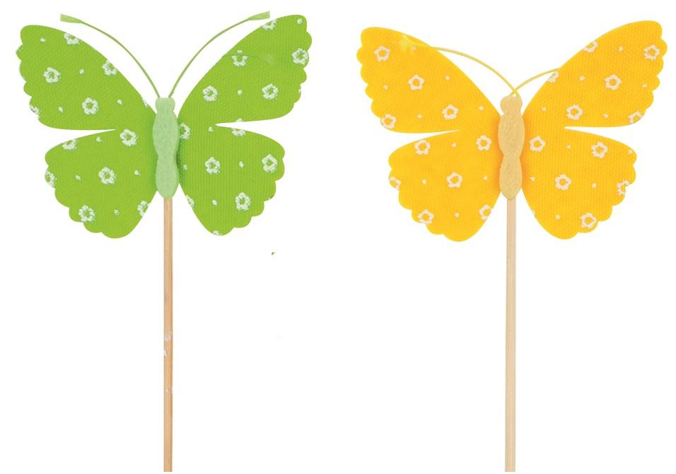 Motýl filcový zápich 9 cm + špejle