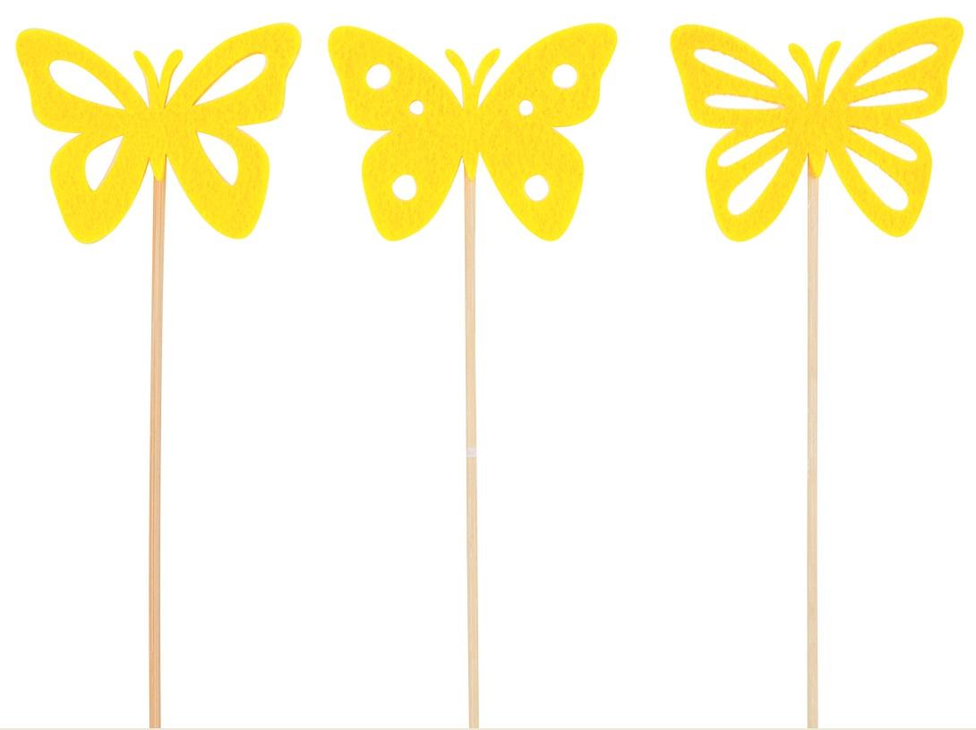 Motýl filcový žlutý zápich 7 cm + špejle